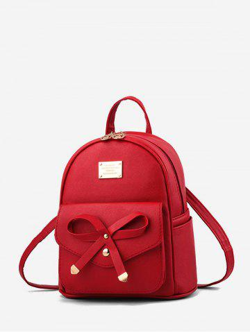 College Style Bowknot PU Backpack
