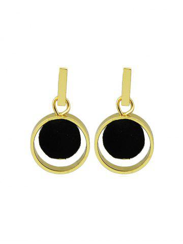 Brief Circle Fuzzy Ball Drop Earrings