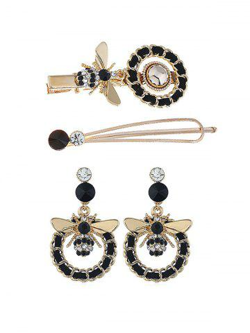 Circle Honey Bee Drop Earrings And Hairpins Set
