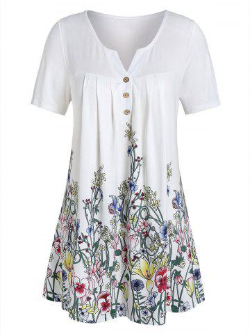 Plus Size V Notch Floral Print Buttons Tee