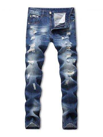 Zipper Fly Ripped Decoration Jeans