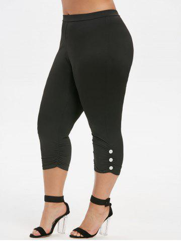 Ruched Buttoned Capri Plus Size Leggings