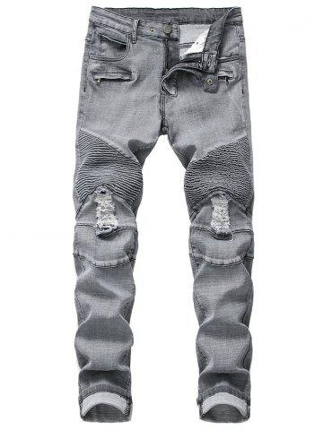 Ruffle Ripped Decoration Casual Jeans