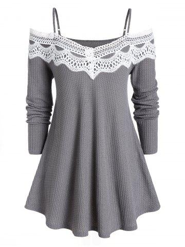 Plus Size Cold Shoulder Lace Spliced Sweater