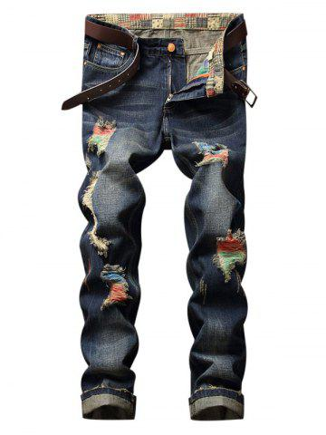 Colorful Destroy Wash Scratch Long Jeans