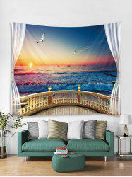 Window Sea Sunset 3D Print Wall Tapestry -