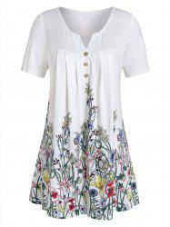 Plus Size V Notch Floral Print Buttons Tee -