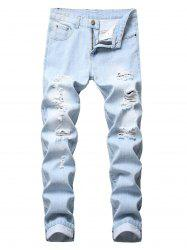 Casual Ripped Design Zipper Fly Jeans -