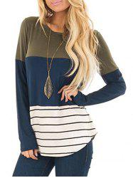 Color Block Striped Lace Panel Curved T Shirt -