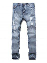 Ripped Decoration Zip Fly Jeans -