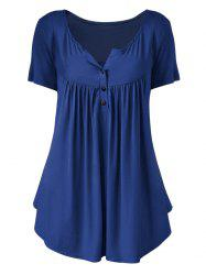 Plus Size Solid Color Ruched Front Button T Shirt -