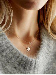 Layered Artificial Pearl Disc Chain Necklace -