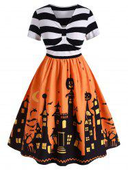 Robe Pin Up d'Halloween Vintage de Grande Taille - Orange Citrouille L