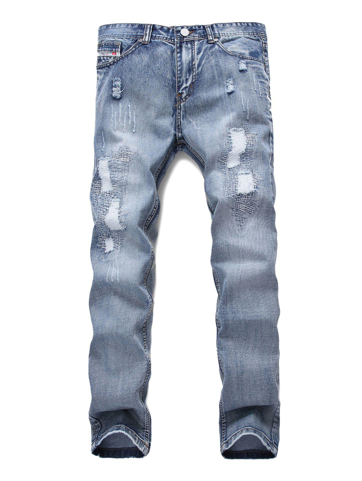 Affordable Ripped Decoration Zip Fly Jeans