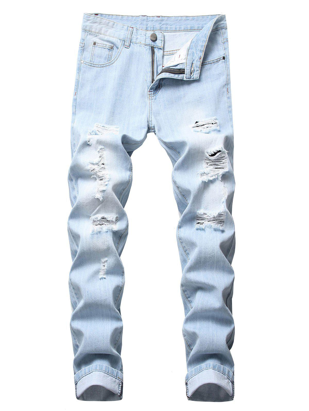 Buy Casual Ripped Design Zipper Fly Jeans