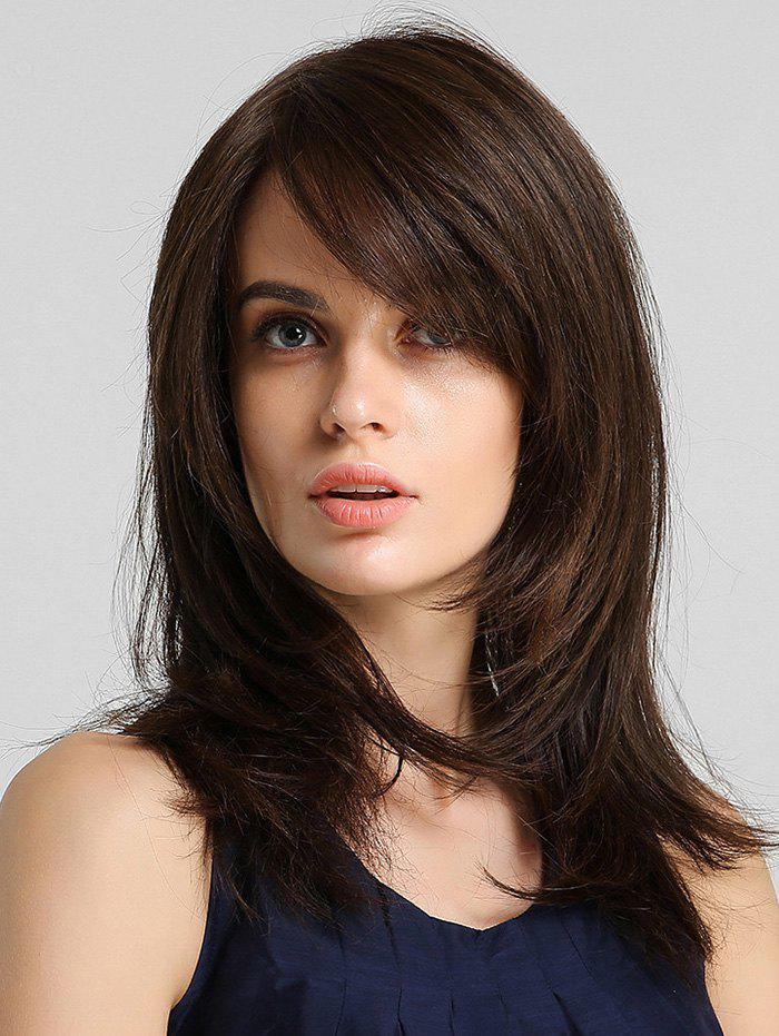 Cheap Side Bang Straight Synthetic Hair Extension with Lace Closure
