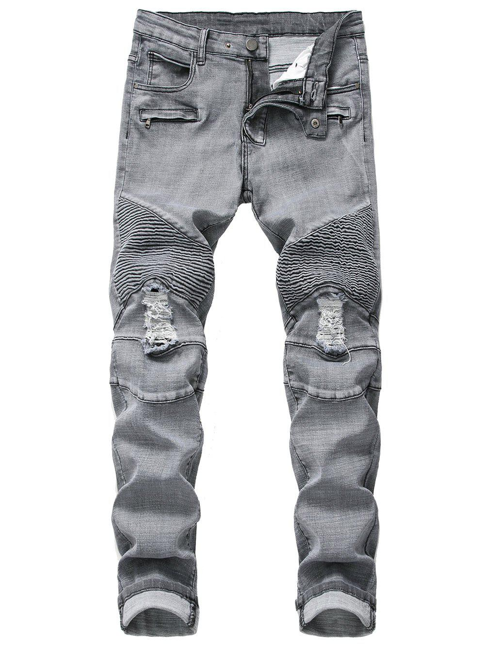 Unique Ruffle Ripped Decoration Casual Jeans