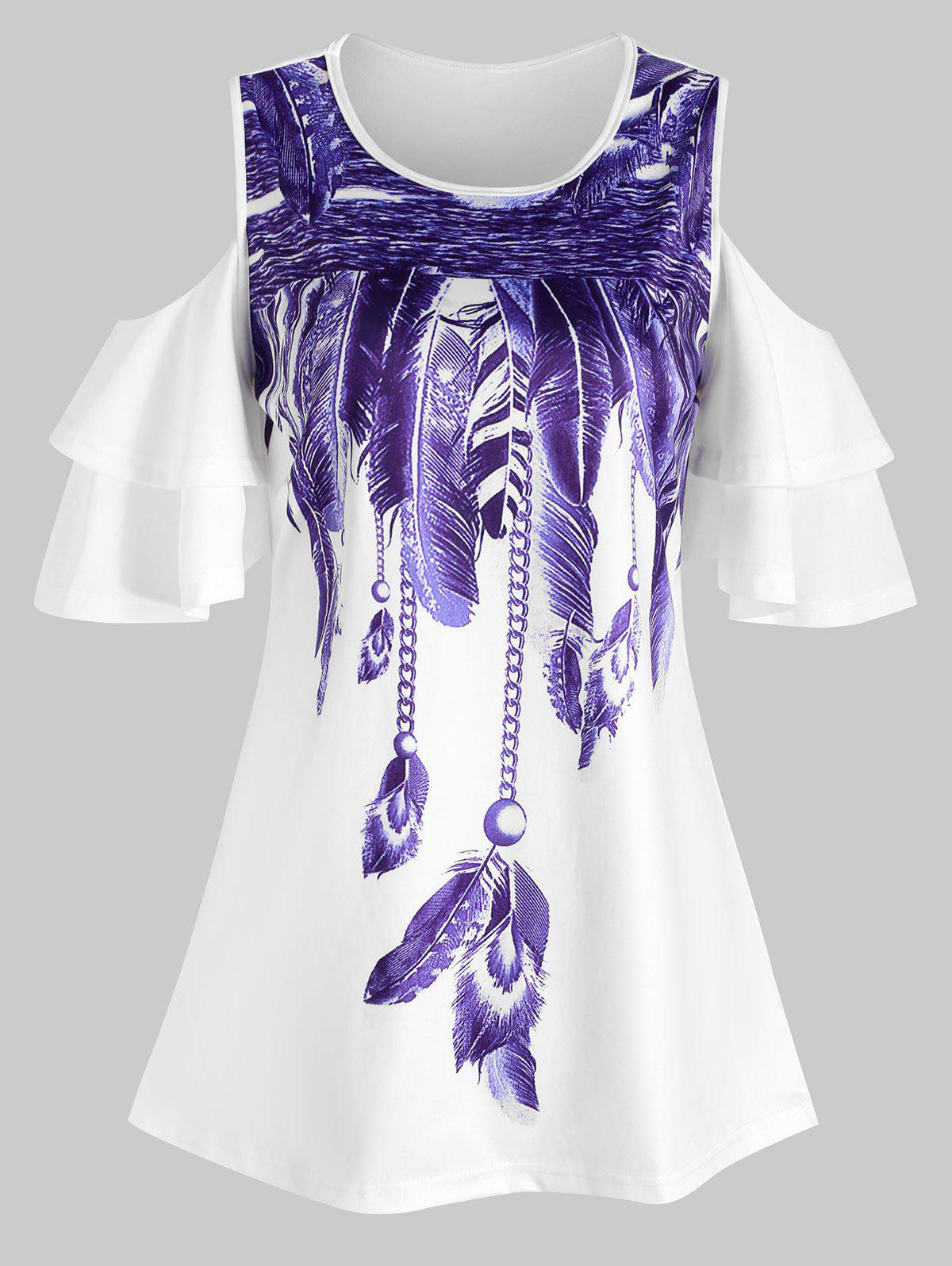 Store Tiered Sleeves Feather Print Longline Tee