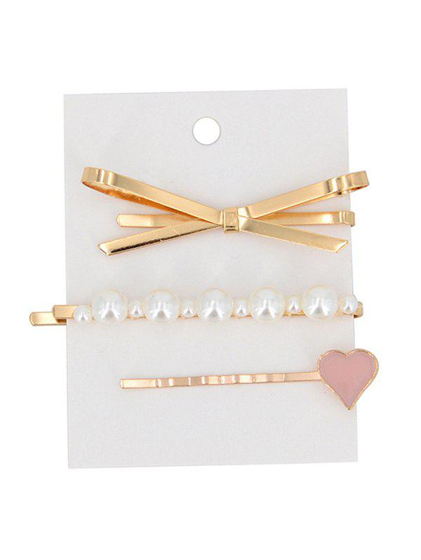 Store Faux Pearl Bowknot Design Hairpins Set