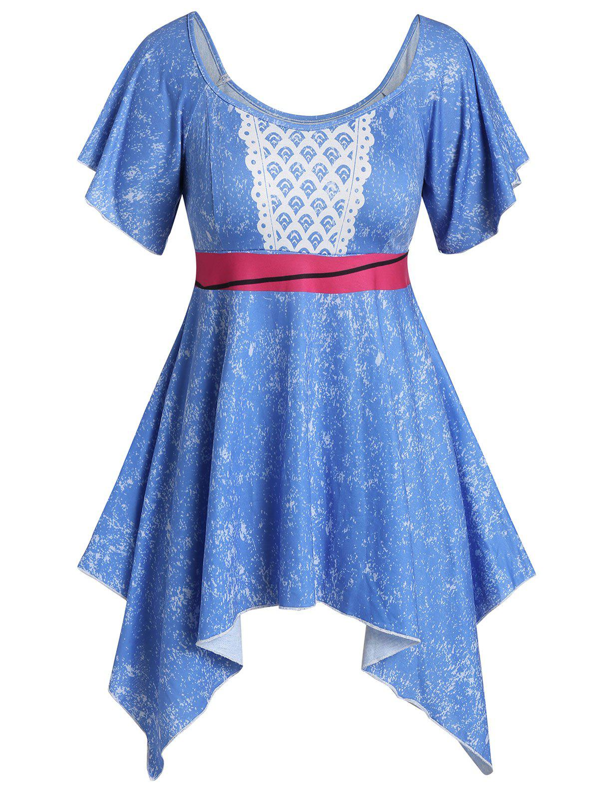 Outfits Plus Size Handkerchief Short Angel Sleeves Tee