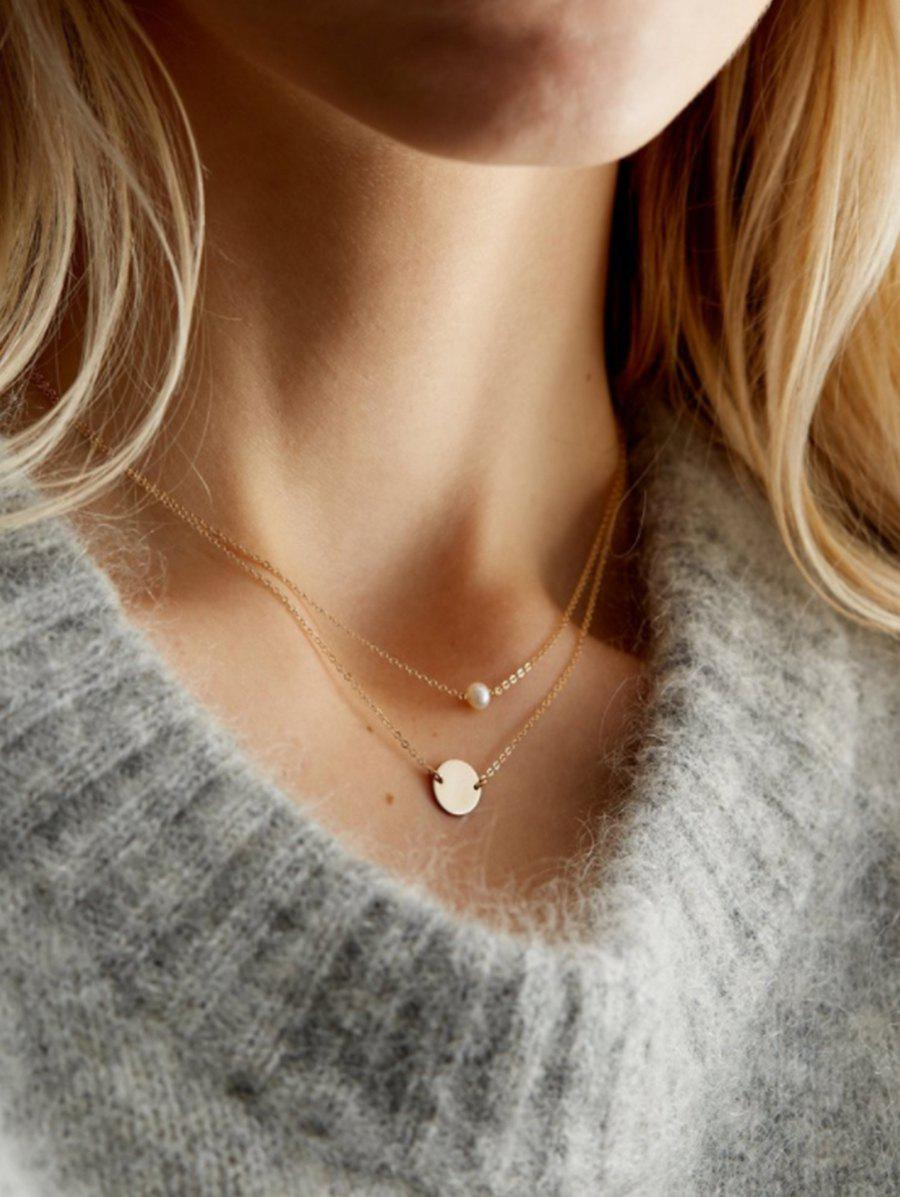 Discount Layered Artificial Pearl Disc Chain Necklace