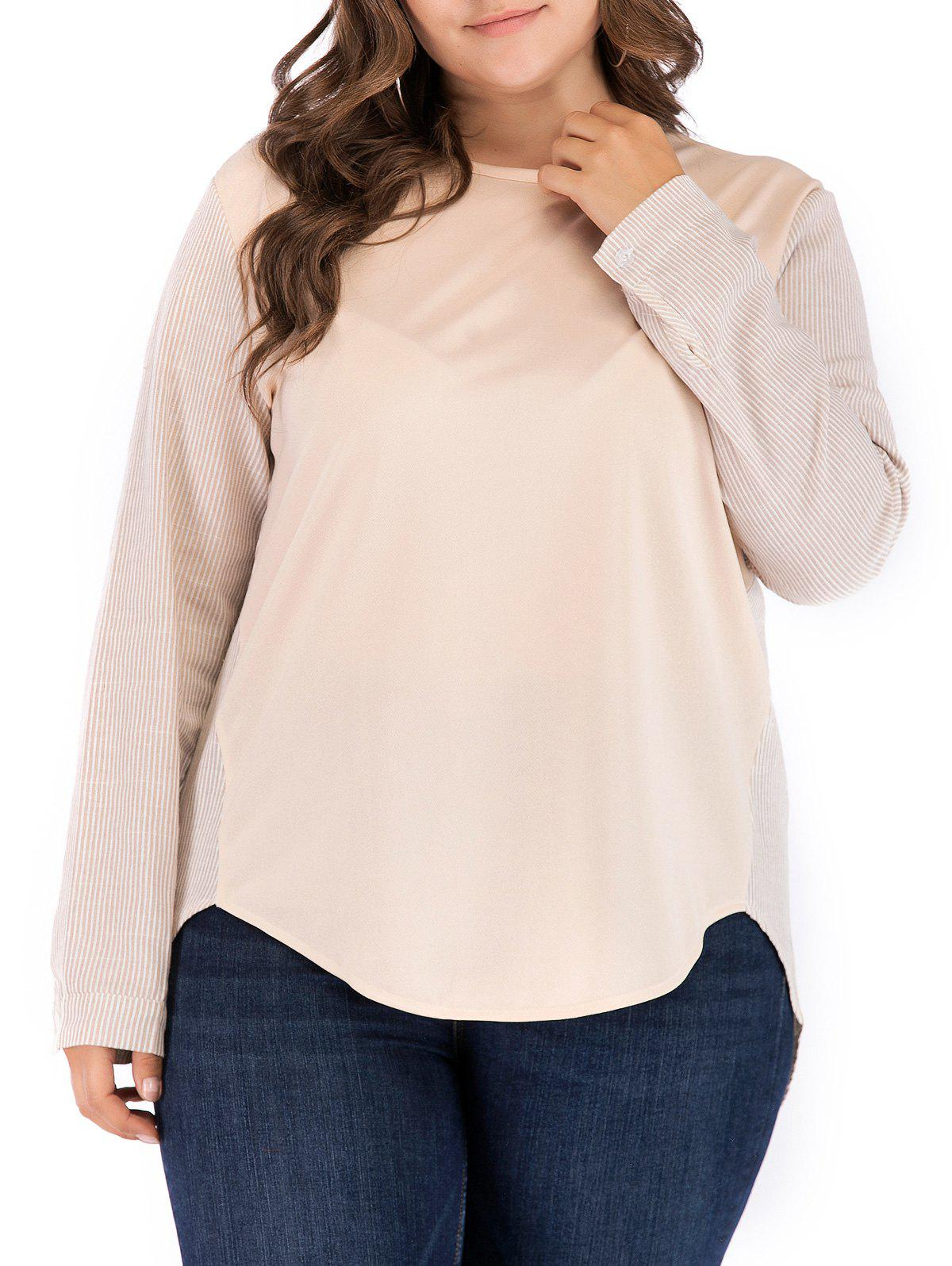 Store Plus Size Two Tone Stripe High Low Top