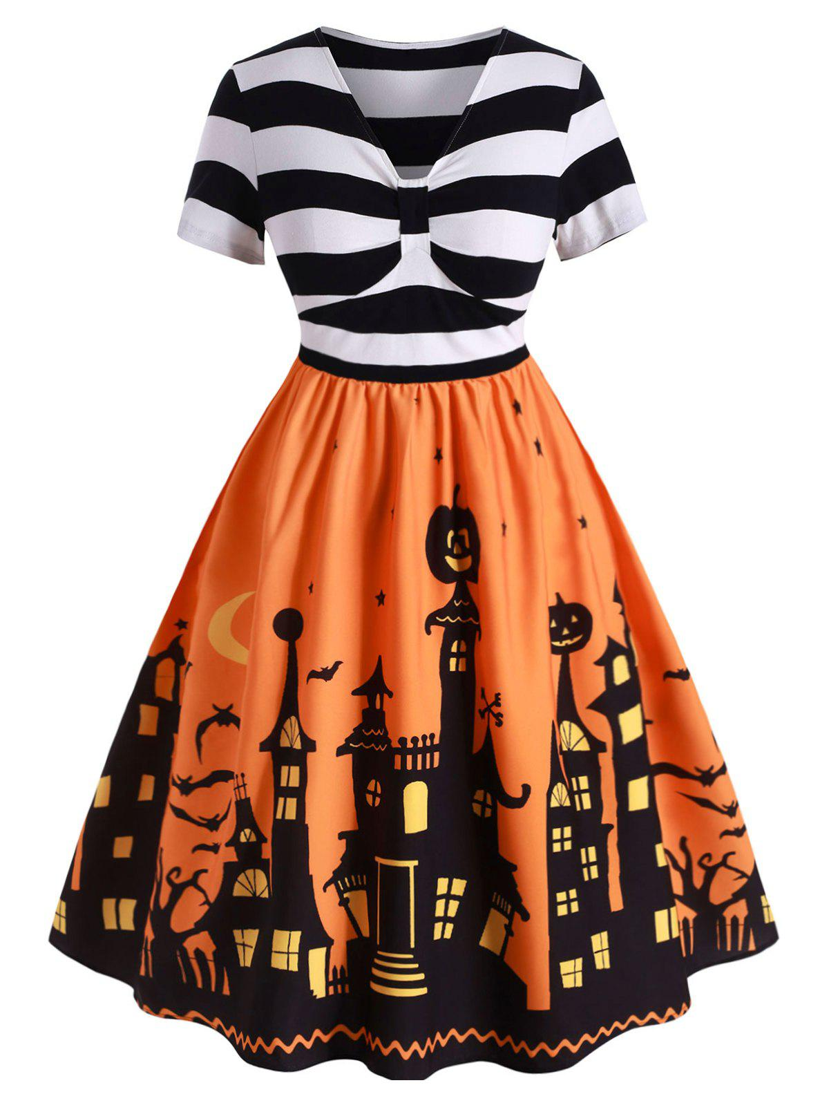 Robe Pin Up d'Halloween Vintage de Grande Taille Orange Citrouille L