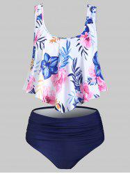 Flower Printed Flounce Tankini Swimsuit -