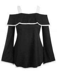 Contrast Piping Flounce Bell Sleeve Tunic Top -