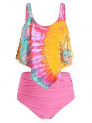 Plus Size Overlay Tie Dye High Waist Tankini Swimsuit -