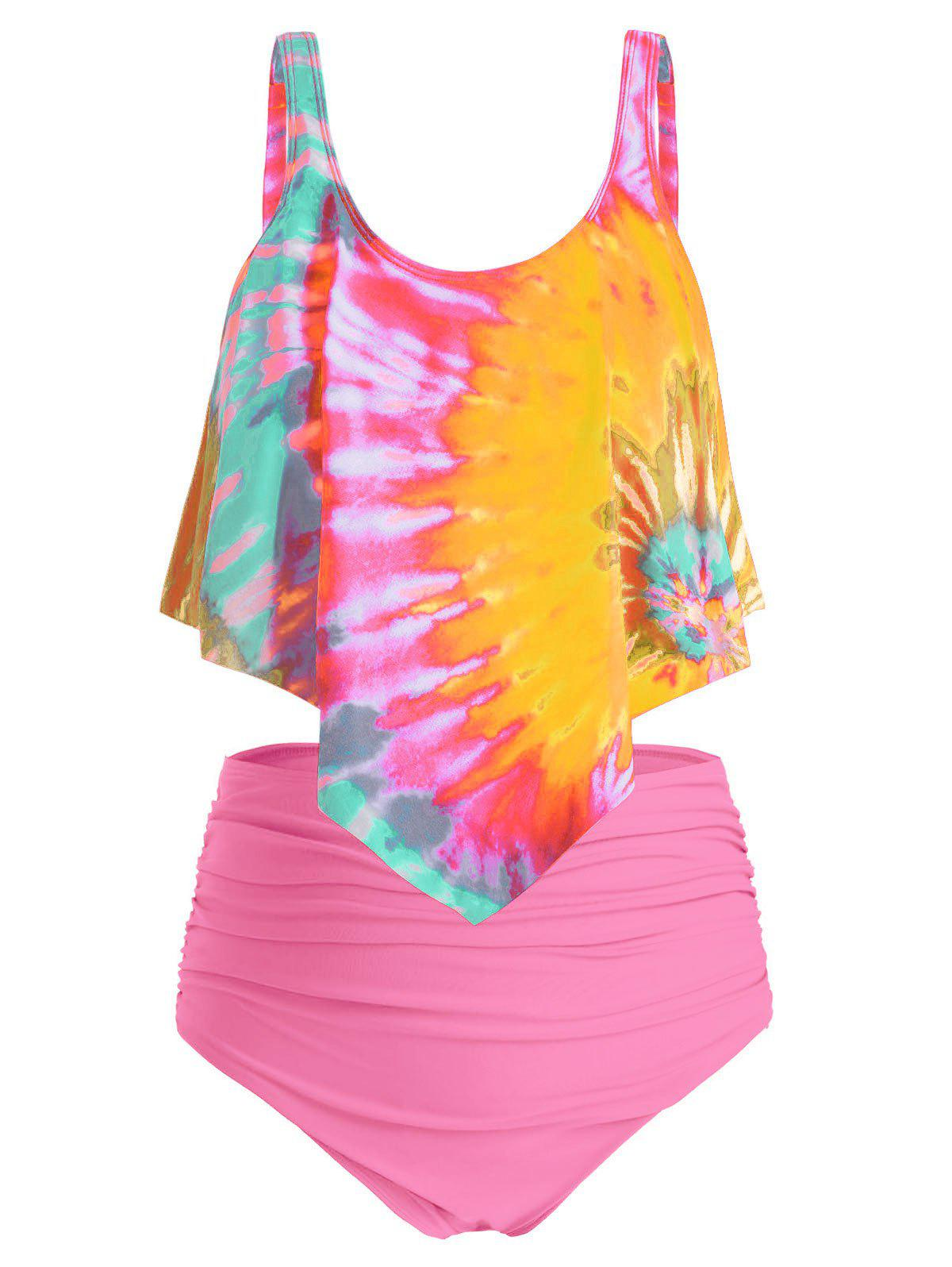 Best Plus Size Overlay Tie Dye High Waist Tankini Swimsuit