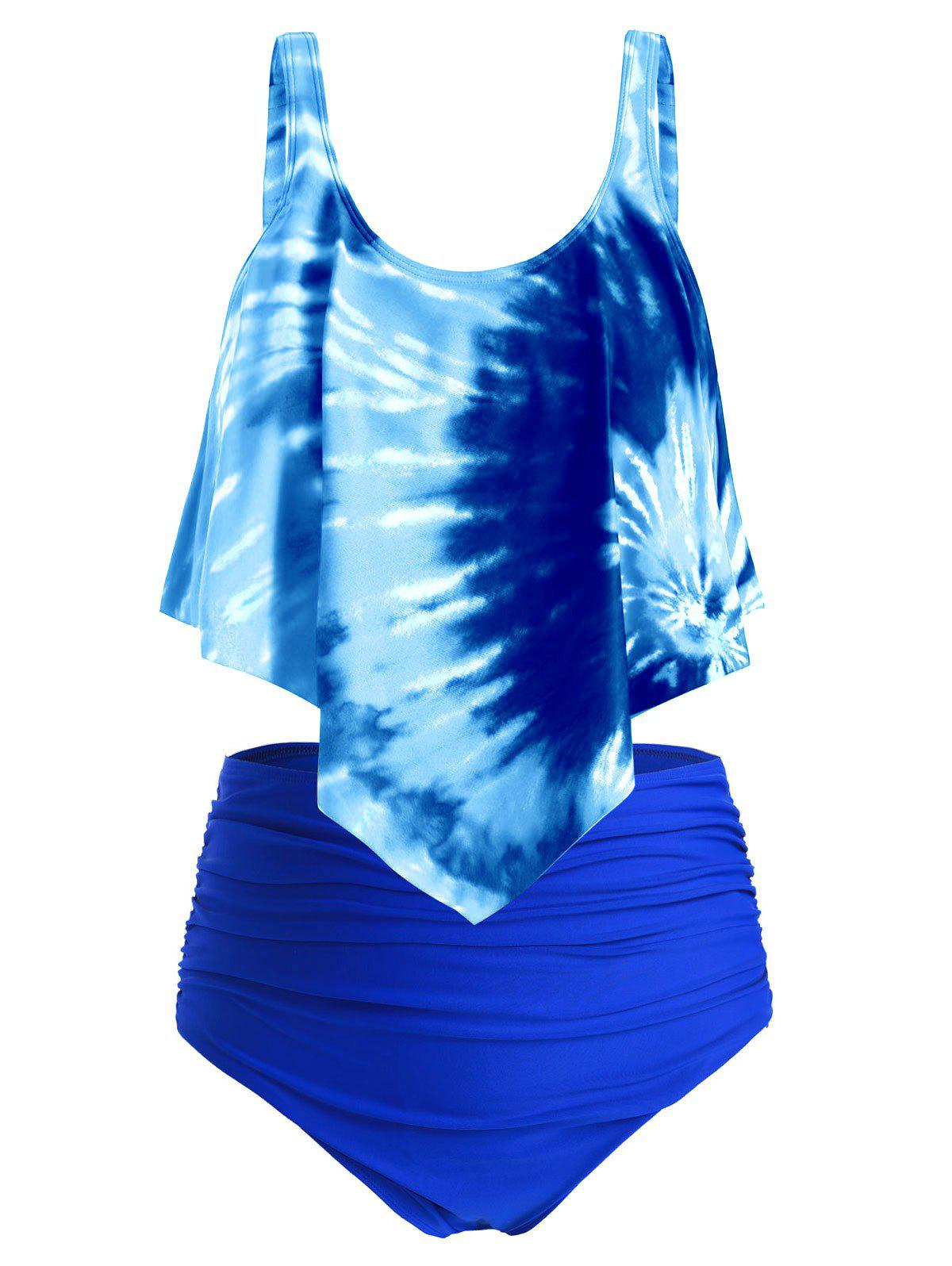 Trendy Plus Size Overlay Tie Dye High Waist Tankini Swimsuit