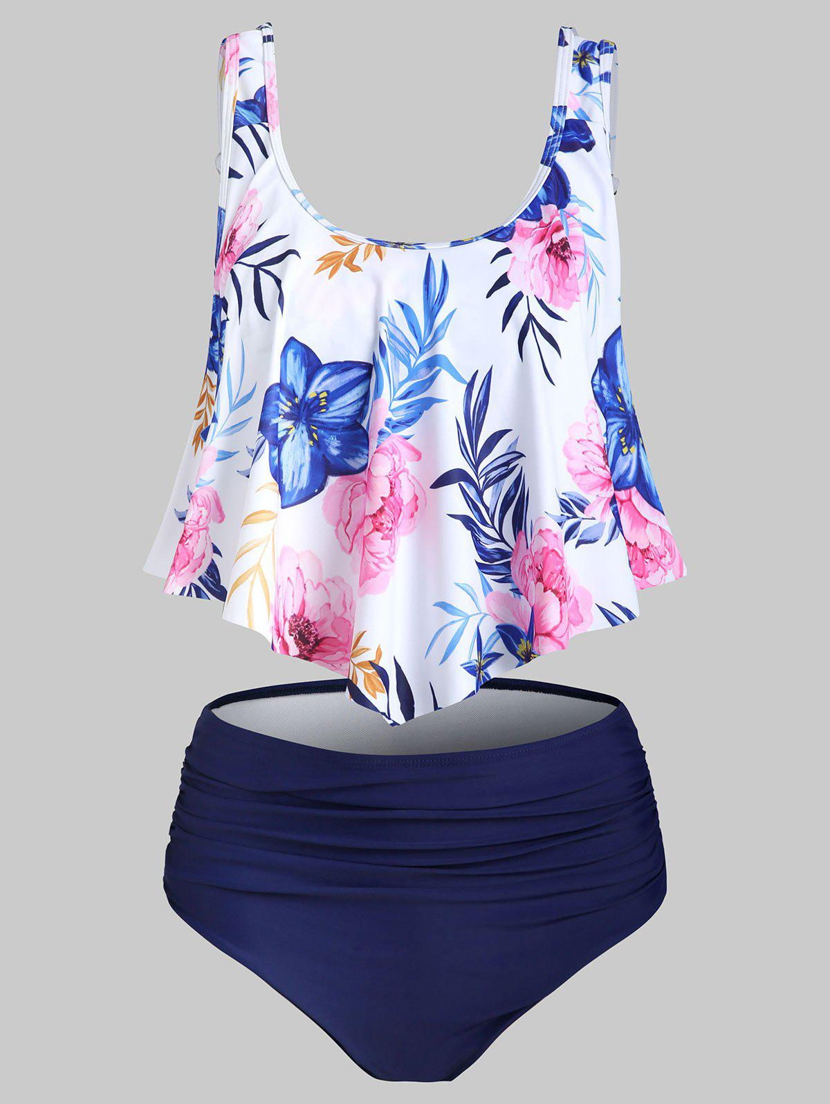 Trendy Flower Printed Flounce Tankini Swimsuit