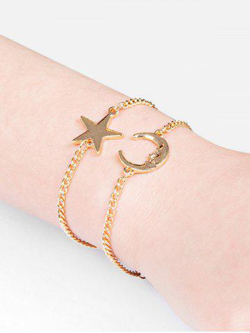 Two Piece Star And Moon Chain Bracelet Sets