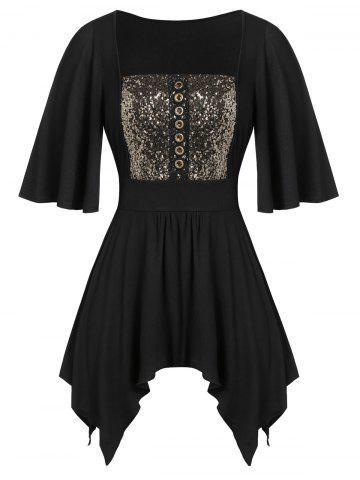 Plus Size Asymmetric Sequined Handkerchief Knotted Tunic Tee - MULTI - L