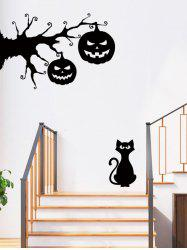 Halloween Pumpkin and Cat Print Removable Wall Art Stickers -