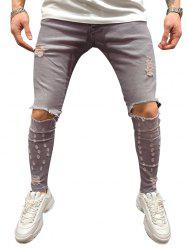 Destroyed Decoration Casual Zip Fly Jeans -
