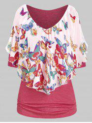 Butterfly Print Ruched Plunging Neck T Shirt -