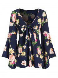 Ditsy Print Plunge Bell Sleeve T Shirt -