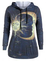 Plus Size Sun and Moon Print Long Sleeve Hoodie -