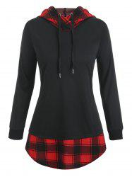 Plus Size Checked Panel Tunic Hooded Sweatshirt -