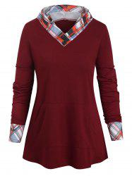 Checked Panel Hooded Long Sleeve Top -