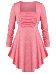 Plus Size Square Neck Ruched Curved Empire Waist T-shirt -