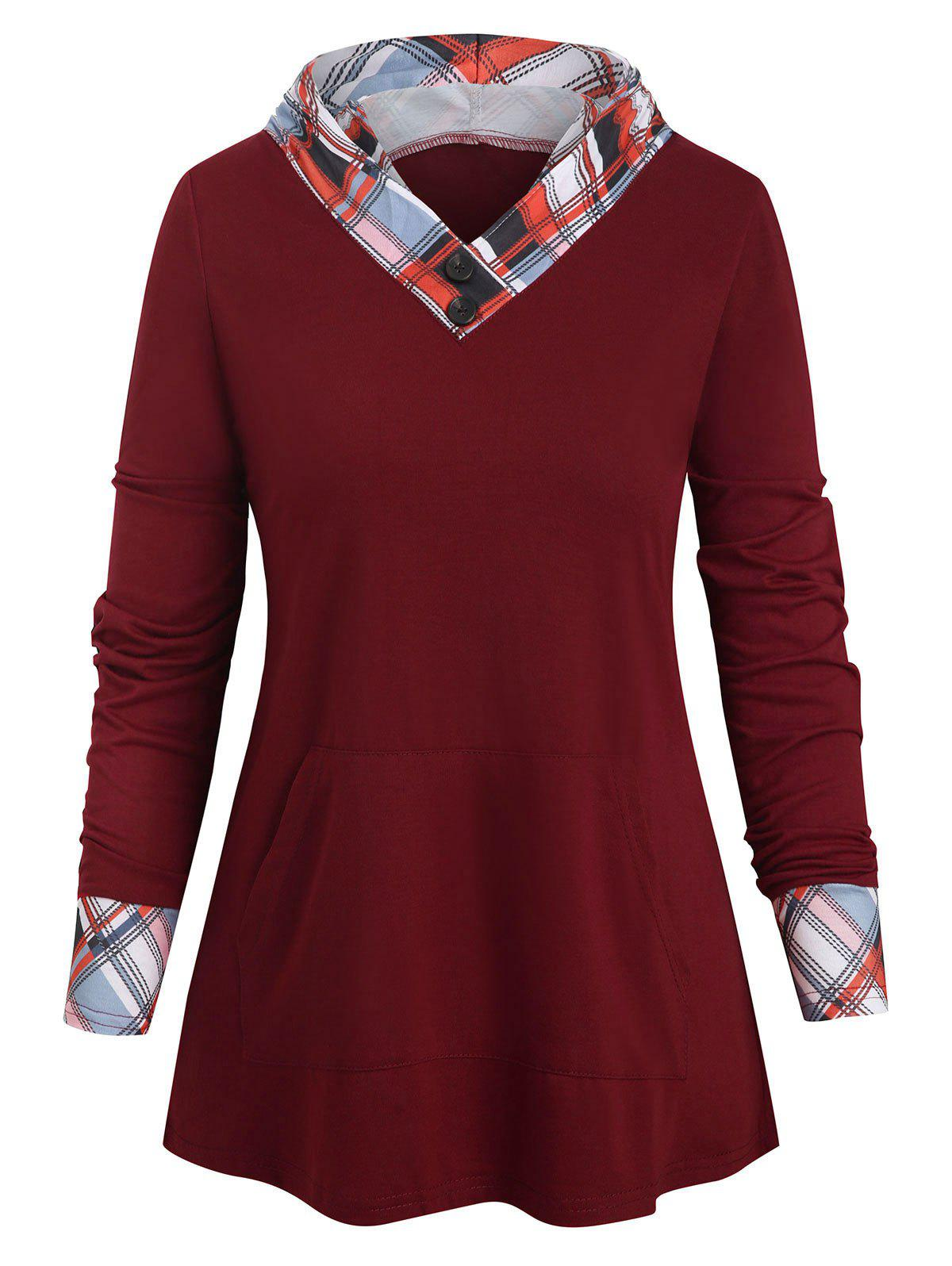 New Checked Panel Hooded Long Sleeve Top