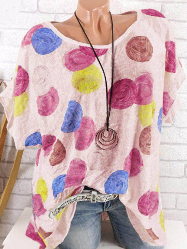 Plus Size Printed Batwing Sleeve Top 中性品牌