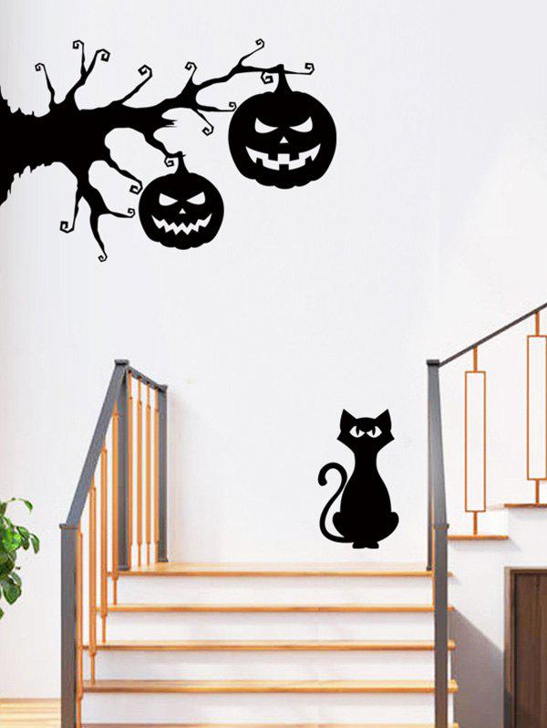 Fashion Halloween Pumpkin and Cat Print Removable Wall Art Stickers