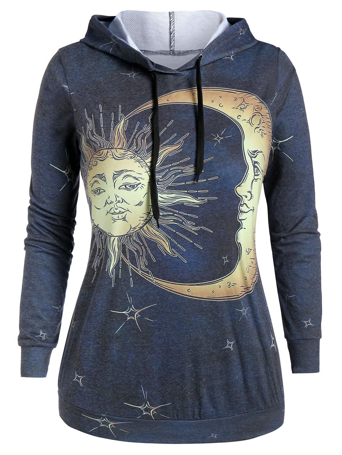Shop Plus Size Sun and Moon Print Long Sleeve Hoodie