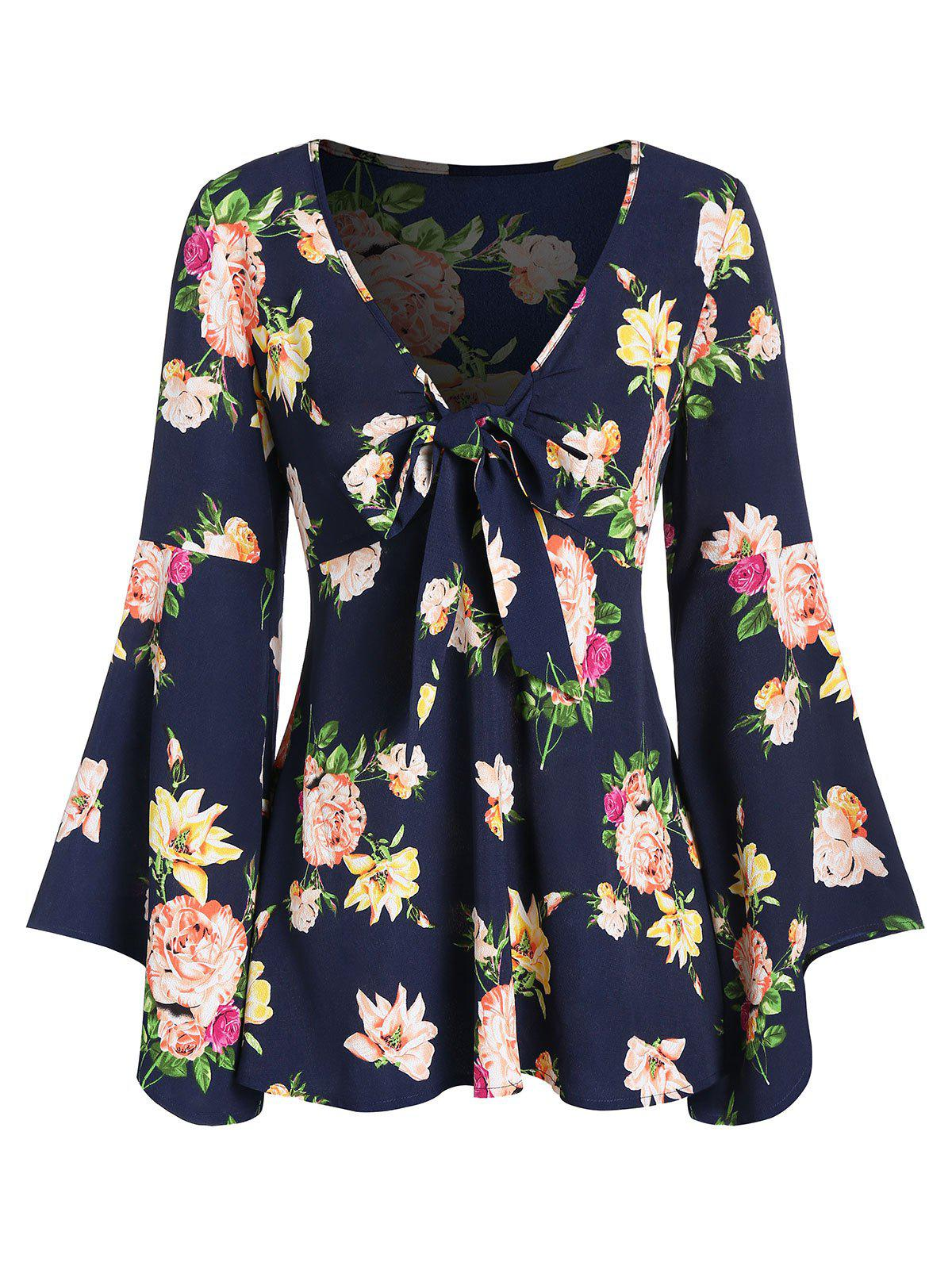 Cheap Ditsy Print Plunge Bell Sleeve T Shirt