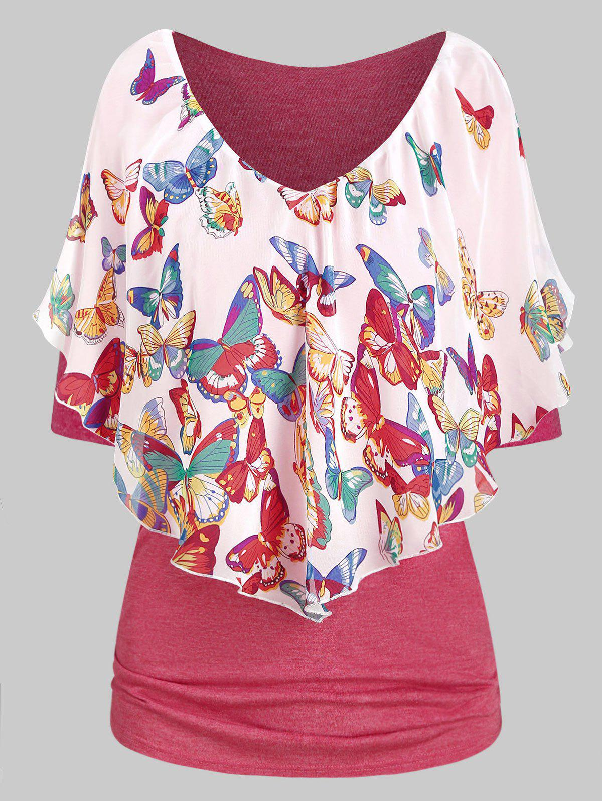 Trendy Butterfly Print Ruched Plunging Neck T Shirt