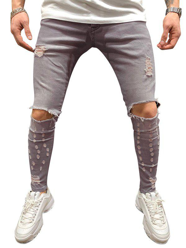 Best Destroyed Decoration Casual Zip Fly Jeans